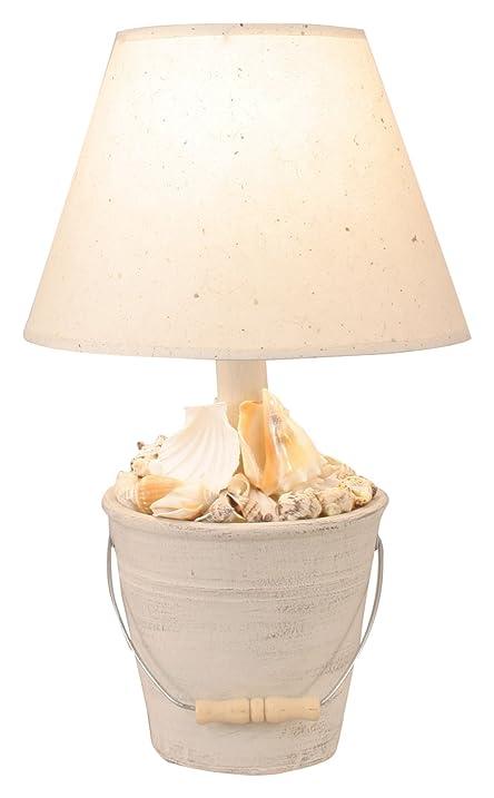 Coast lamp cottage mini bucket of shells accent lamp