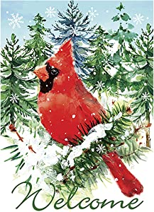 Morigins Welcome Cardinals Double Sided Winter Christmas Garden Flag 12.5x18 inch