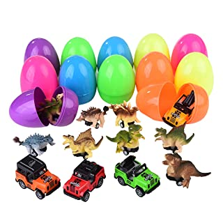 Mitcien 12 Pack Dinosaur Toys for 2 3 4 5 Year Old Boys Kids toddlers, Surprise Eggs Filled with Pull Back Vehicles, Dino Toys Cars Best Gift Presents for Boys Age 6-10