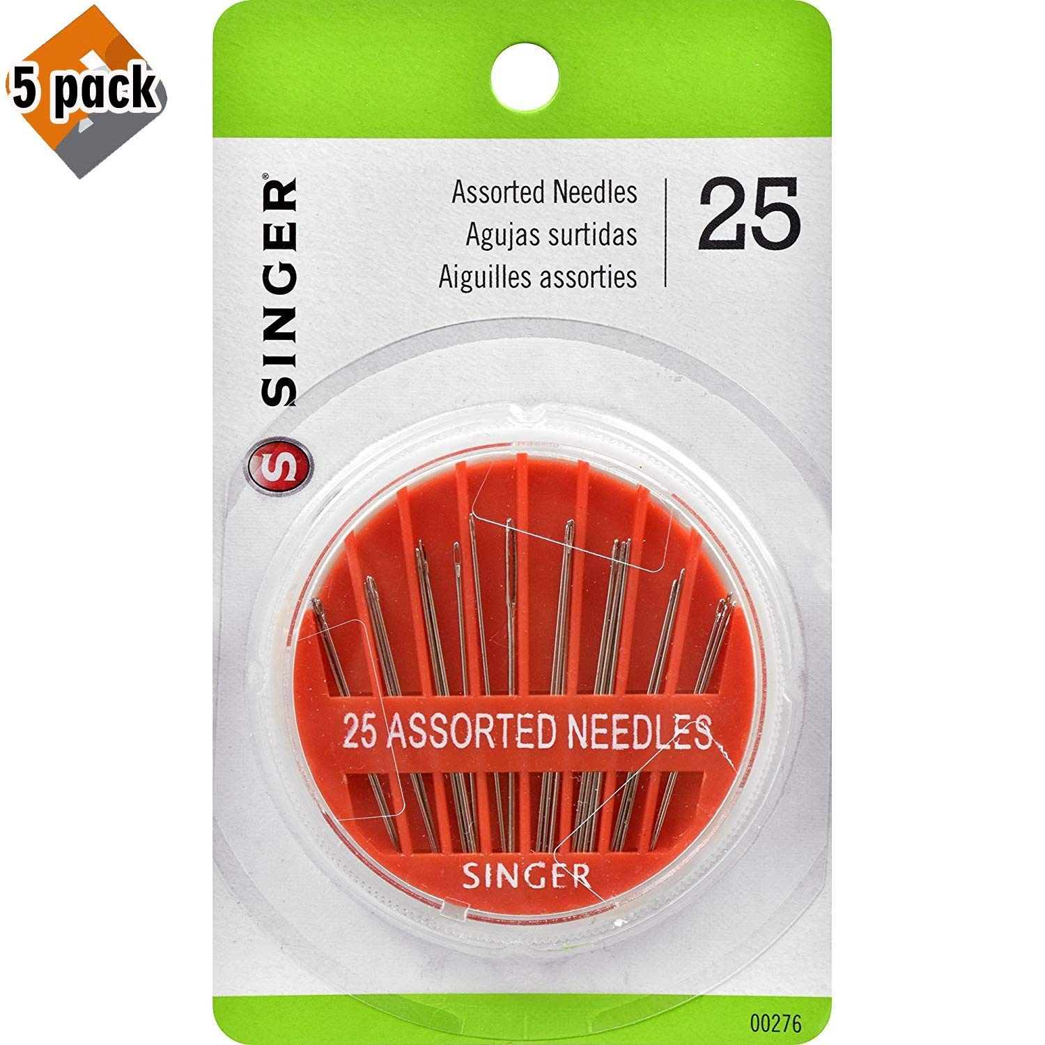 25-Count Pack of 5 SINGER 00276 Assorted Hand Needles in Compact