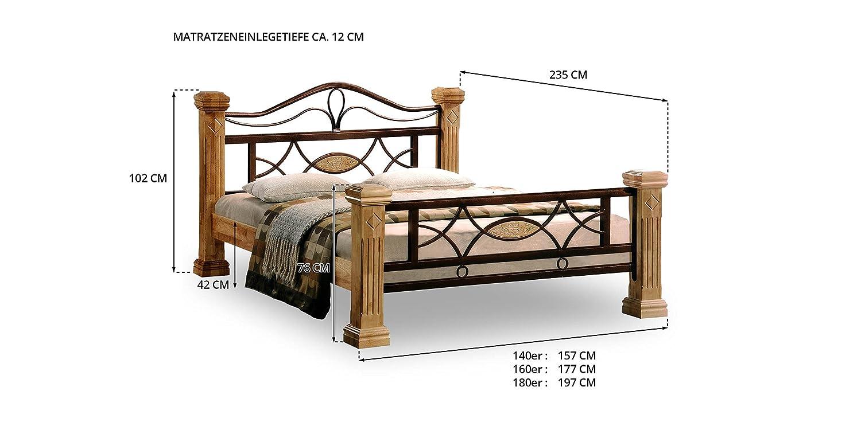 Massiv Holz Bett Holzbett ROM Natur Farbe in Buche 160x200 160 ...