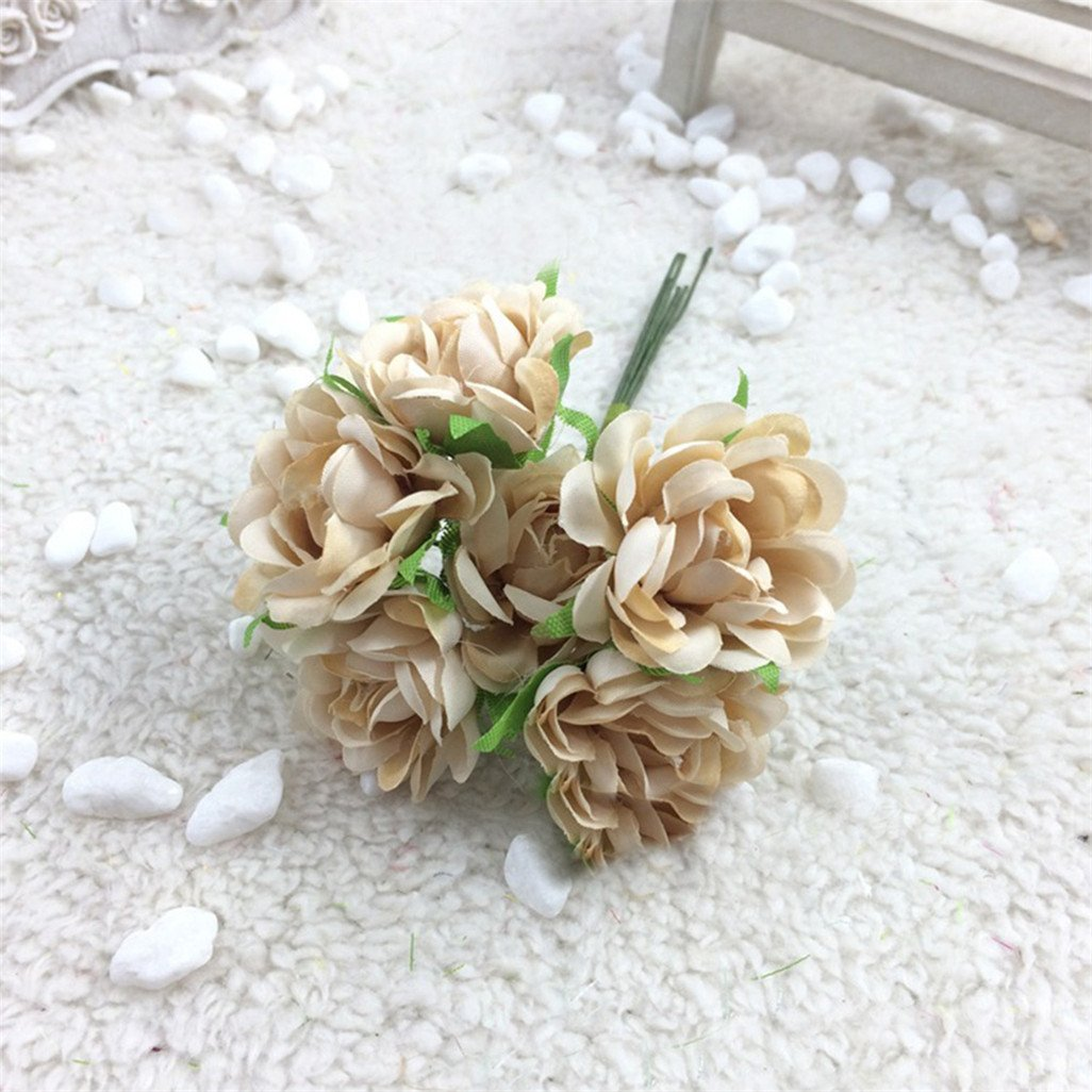 DISPLAY08 6pcs artificiale bouquet di fiori di seta floreale wedding party Home Decoration – champagne
