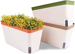 OurWarm 10.5 Inch Self Watering Plant Pots, Rectangular Windowsill Herb Planter Box Set of 3, Decorative Indoor Garden Flower Pots for House Plants, Herbs, Vegetables, Succulents Plants (Multi-Color)