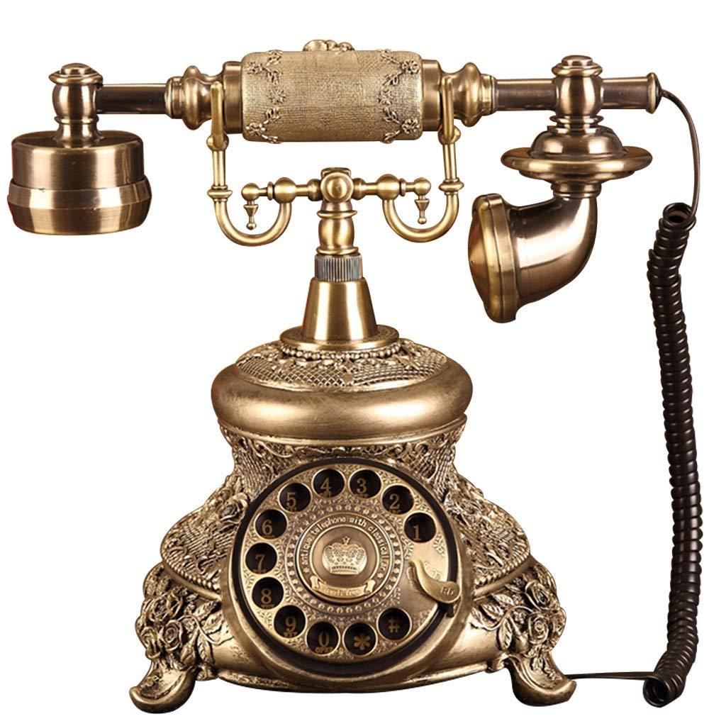アンティークの家の電話 - プッシュボタンと回転式電話 - コード付きレトロ電話 - レトロな装飾的な電話 - ホーム固定電話とオフィスの電話、さまざまなスタイルで利用可能 (三 : C) B01IKGIPLQ Aa