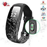 Fitness Tracker with Heart Rate, NPET H8 IP67 Waterproof Smart Activity Tracker, Full Touch Screen Watch with Message Notification/Steps Counter/ Sleep Monitor/ Connected GPS Wristband for Android IOS