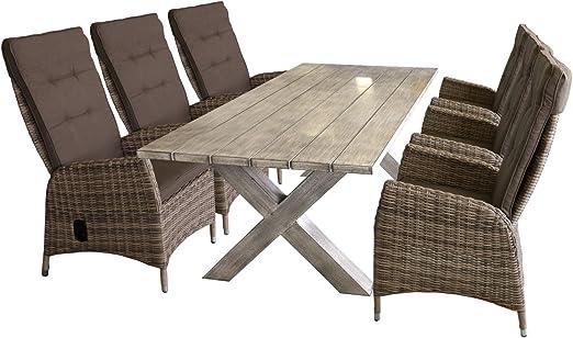 Ensemble de jardin table de jardin 200 x 94 cm, plateau de ...