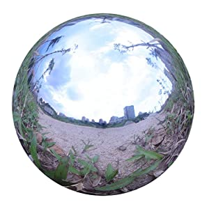 Durable Stainless Steel Gazing Ball, Hollow Ball Mirror Globe Polished Shiny Sphere for Home Garden (8 Inch)