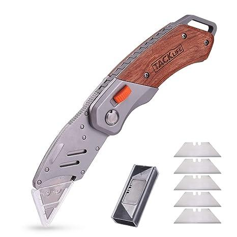 TACKLIFE Cúter, Cuchillo Plegable con 5 Hojas, Cuchillo de Seguridad con Mango de Madera, Navaja Multiuso y Bloqueo Plegable Seguro, Mango ...