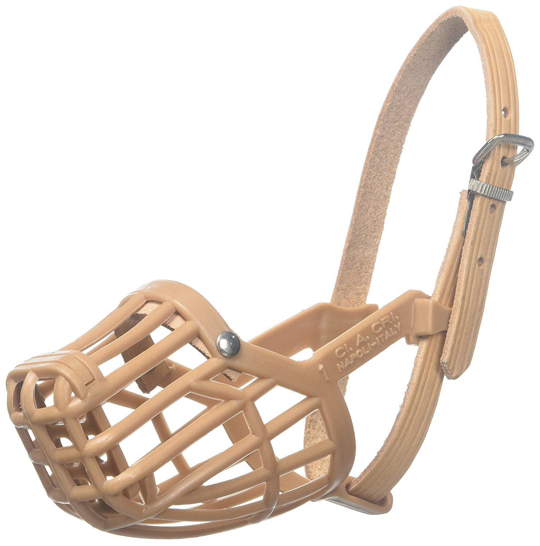 Leather Brothers Italian Basket Dog Muzzle, Size 6, Tan