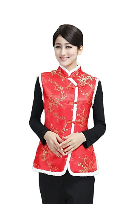 AvaCostume Girls Sleeveless Chinese Style Peony Pattern Satin Fleece Vest Coat