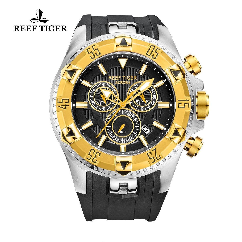 Reef Tiger Herren Sport Chronograph Datum Gold LÜnette Schwarz Zifferblatt Luminous Quarz Uhren rga303