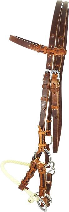 avec muserolle en corde simple marron fonc/é Bride side-pull Thor Equine