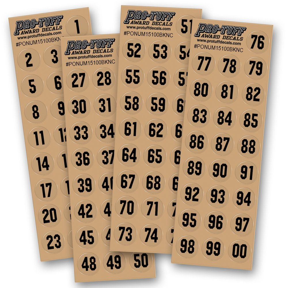 Number Decals for Helmets (Football, Lacrosse, Baseball, Softball, Hockey) 100 Stickers (Black)