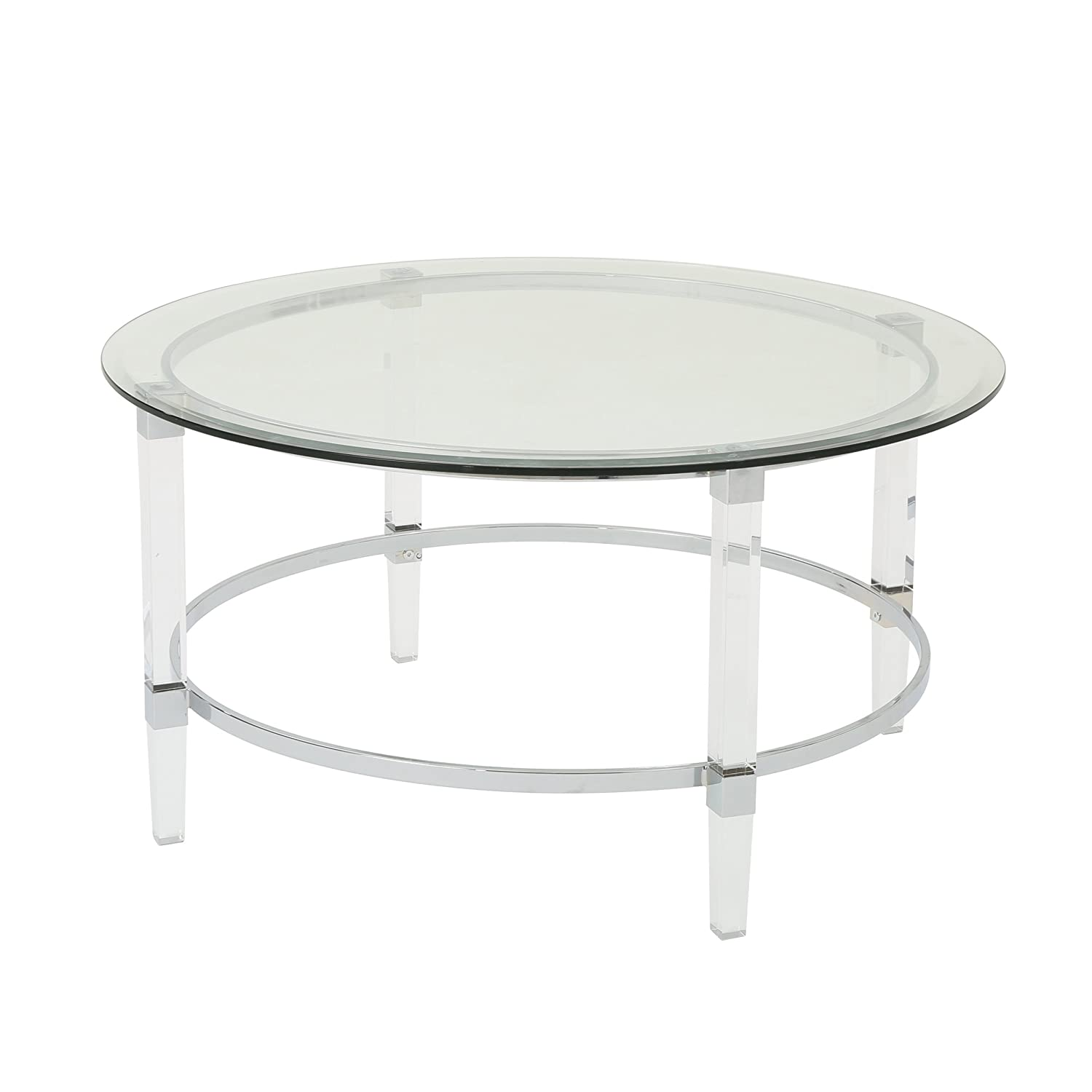 Christopher Knight Home 302313 Lynn Modern Round Tempered Glass Coffee Table with Acrylic and Iron Accents, Clear