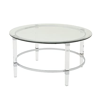 Lynn Modern Round Tempered Glass Coffee Table With Acrylic And Iron Accents