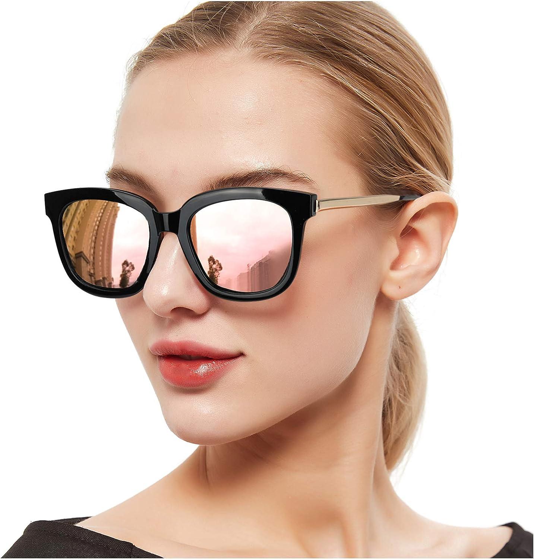SIPHEW Gafas de Sol Mujer/Hombre Grandes, Gafas de sol de Moda Eliminar Reflejos con Protección UVA/UVB-Gafas de Espejo