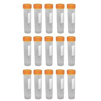 15pieces X 50 ml fondo plano plástico Vial Tubo de ensayo botella graduada con tapas