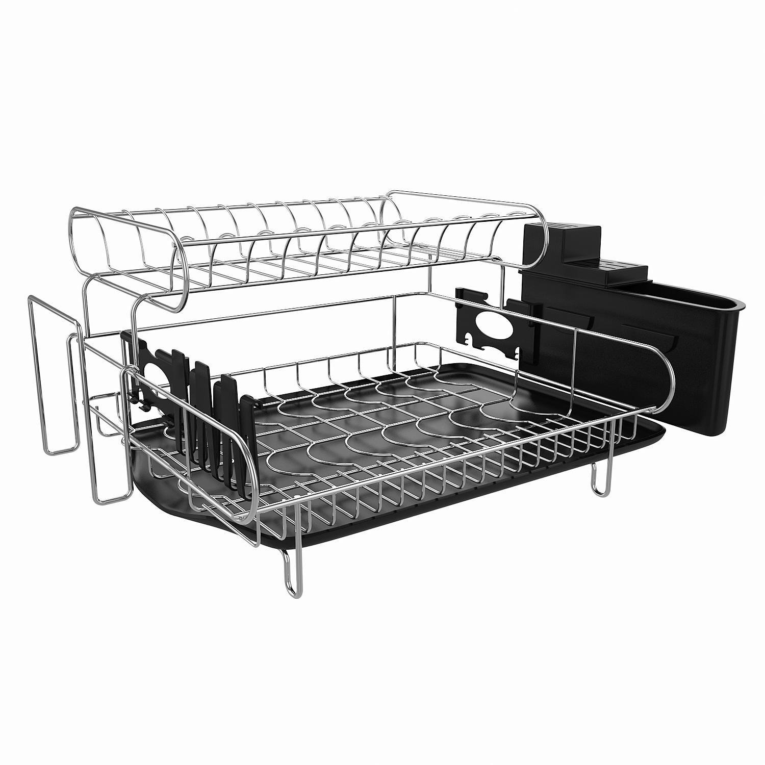 Fanala 304 Stainless Steel Professional 2 Tier Dish Drying Drainer Rack Large Capacity with Microfiber Mat Kitchen Utensil Holder