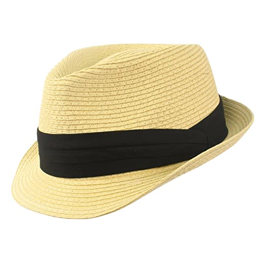 SK Hat shop Men s Summer stingy Short Brim Derby Fedora Pleated hatband Hat  Natural S  479c1d2ad658