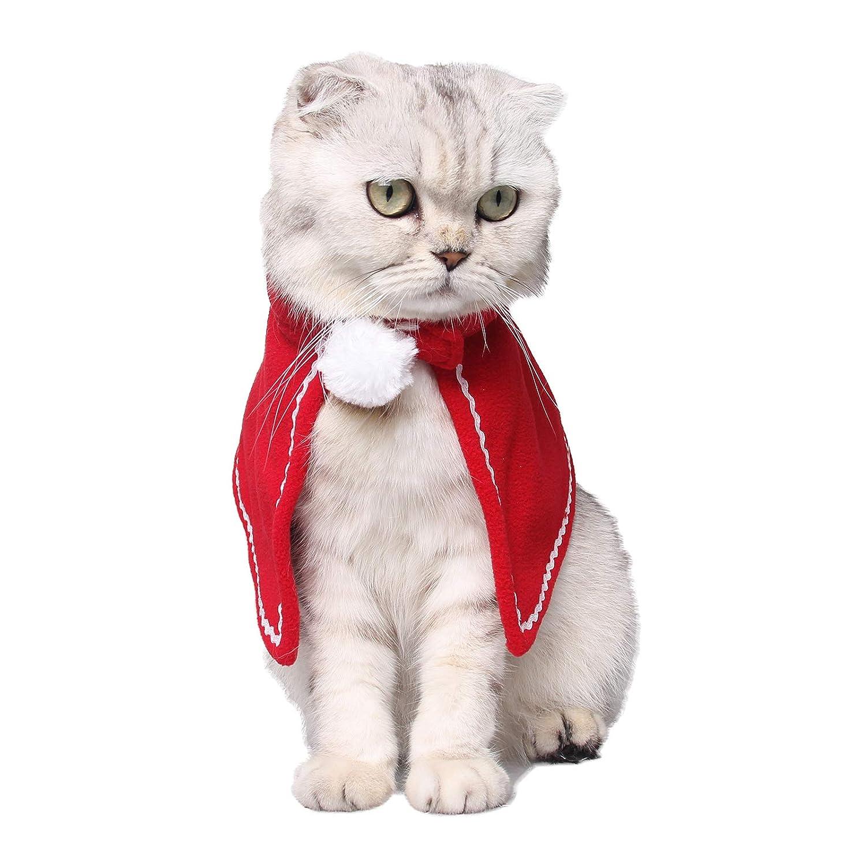 Disfraz de Navidad para Mascotas para Perros peque/ños y Gatos PEDOMUS Disfraz de Gato de Navidad para Mascotas con Capucha roja para Gato o Gato Rojo