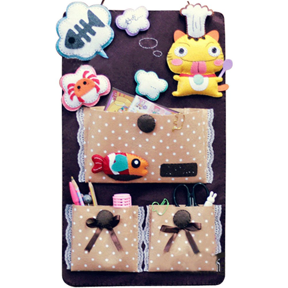 KIKIGOAL DIY Handmade Crafts Christmas Decoration Wall Door Closet Hanging Storage Bag Home Organizer (DIY Animals design)