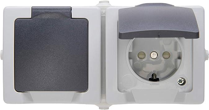 Aufputzsteckdose 2 fach waagerecht mit VDE Feuchtraum Doppel Steckdose Aufputz