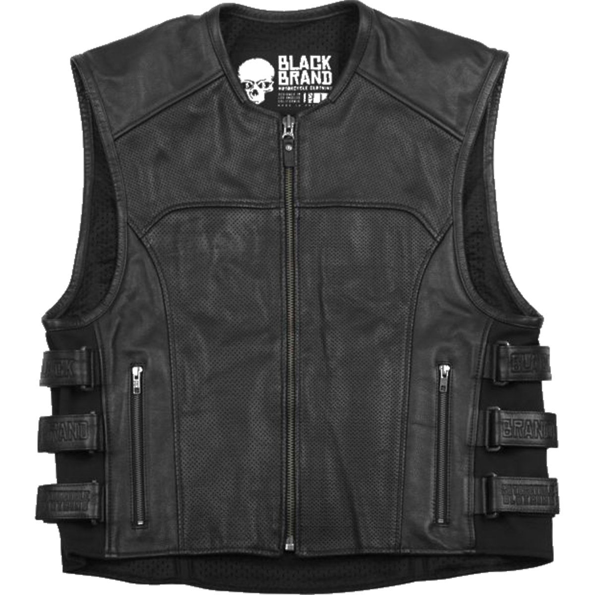 Black Brand Men's Leather Ice Pick Perforated KoolTeK Motorcycle Vest (Black, XXX-Large)