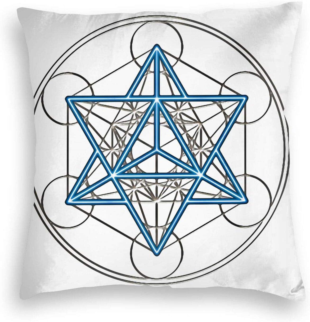MHHYY Sacred Geometry, Star Tetrahedron Velvet Pillowcase Soft Solid Cushion Case for Bedroom
