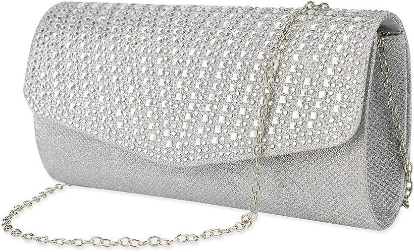 Satin Evening Bag Clutch Rhinestone Magnet Bridal Handbag Evening Prom Purse