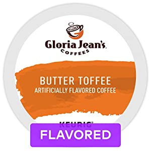 Gloria Jean's Coffees Butter Toffee, Single Serve Coffee K-Cup Pod, Flavored Coffee, 24