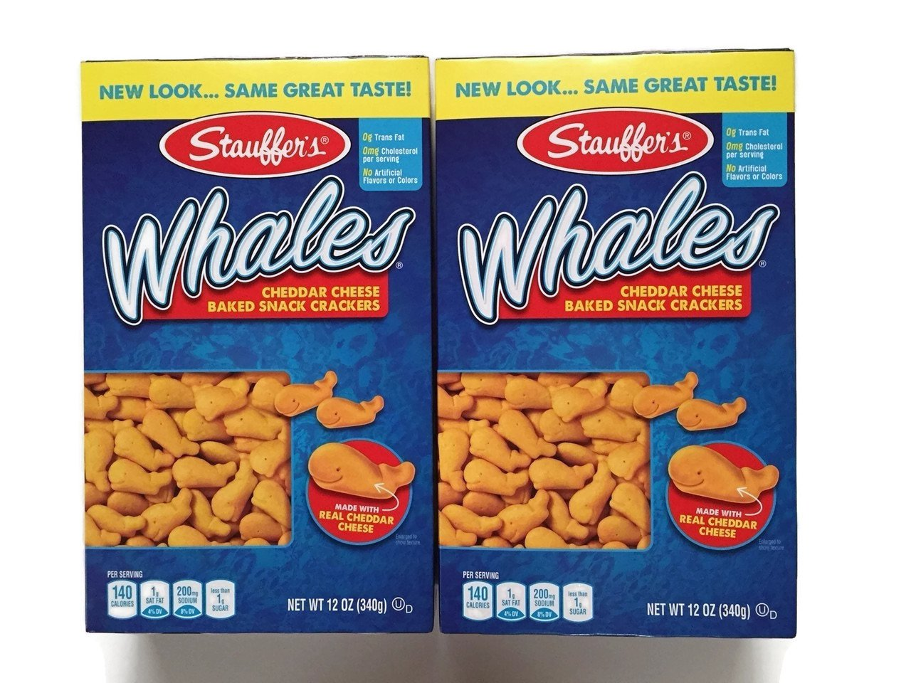 Stauffer's Whales, Cheddar Cheese Baked Snack Crackers, 12 Oz. Boxes (Set of 2) Stauffer' s Whales