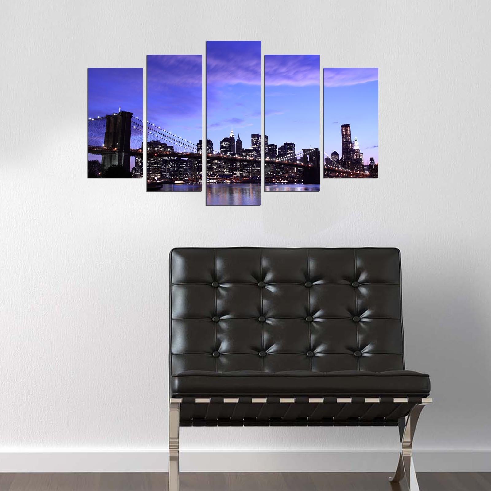 LaModaHome Decorative 100% MDF Wall Art 5 Panels (43'' x 24'' Total) Ready to Hang Painting Brooklyn America Night Light Bridge Building