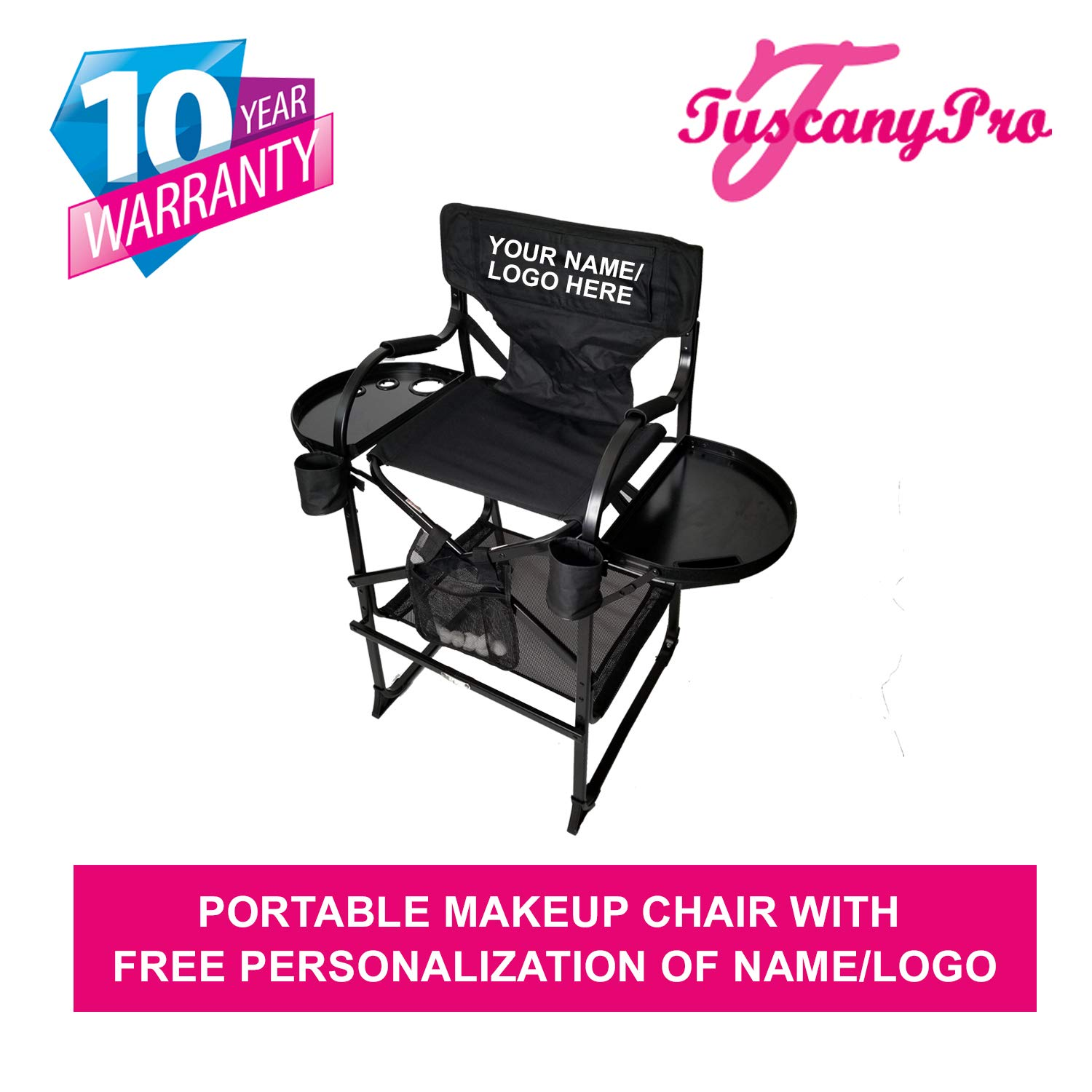 Your Name Logo Included Portable Makeup Chair – Perfect for Makeup, Salon, Events with 29 Inch Seat Height – 10 Years Warranty – US Patented