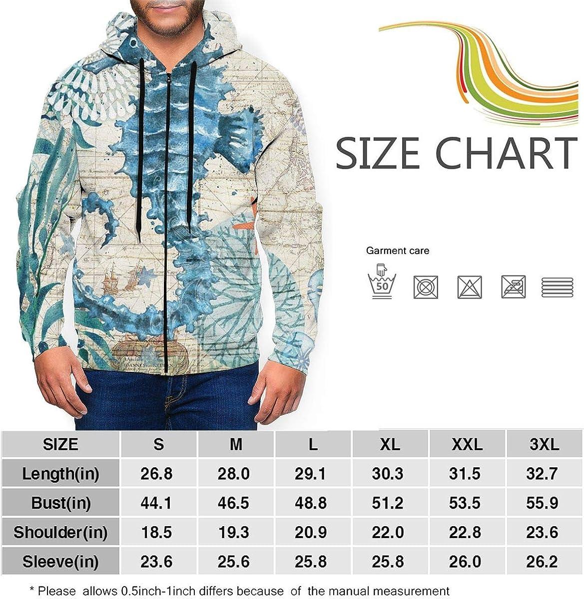Seahorse Wild Zip-up Sweatshirt Hoodie Kangaroo Pocket for Mans
