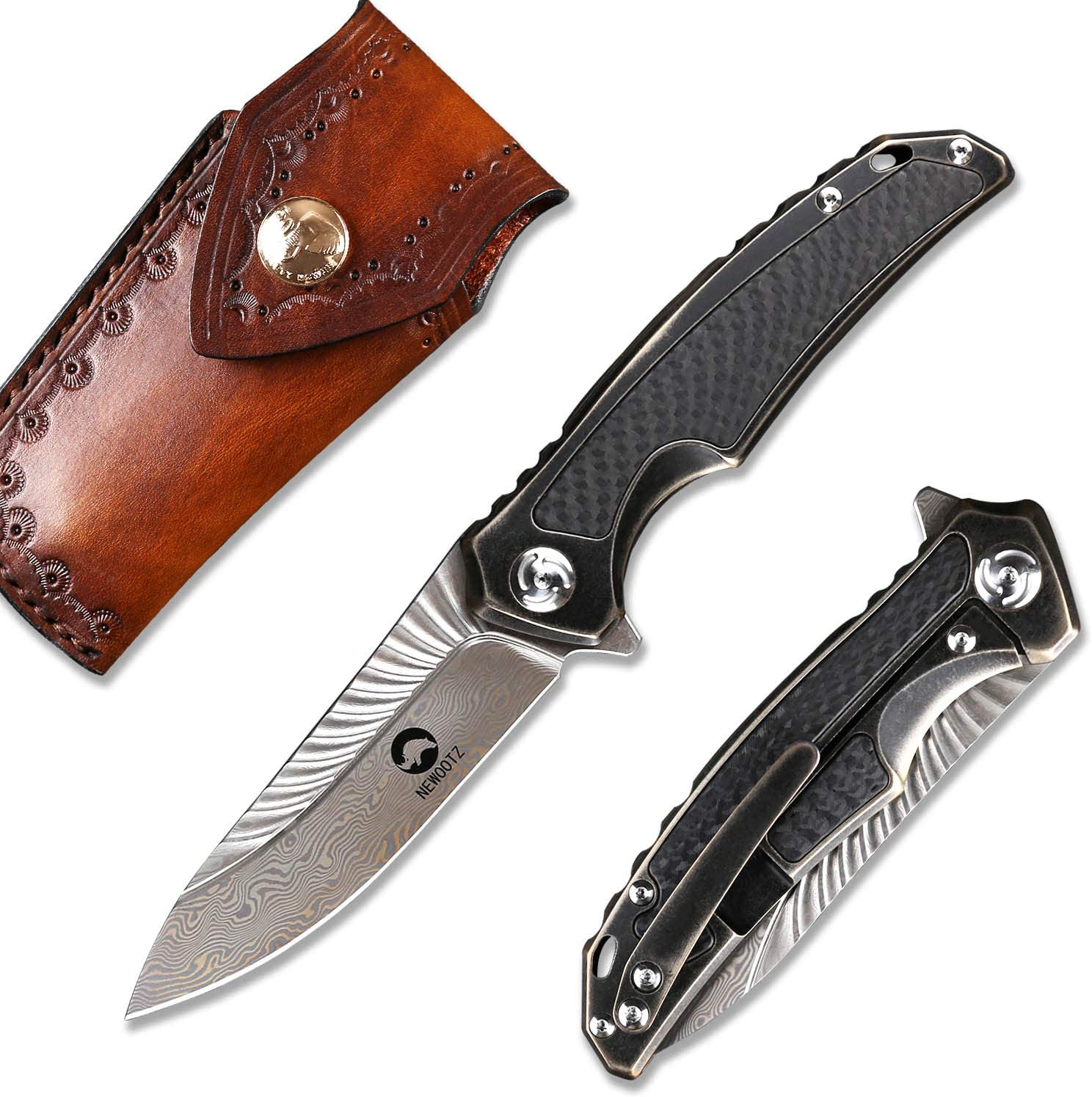 NEWOOTZ Damascus Folding Pocket Knife with Clip and Leather Sheath,Handmade Japanese VG10 Steel 3.5in Blade,Frame Lock Titanium Carbon Fiber Handle,EDC Outdoor Knives for Men