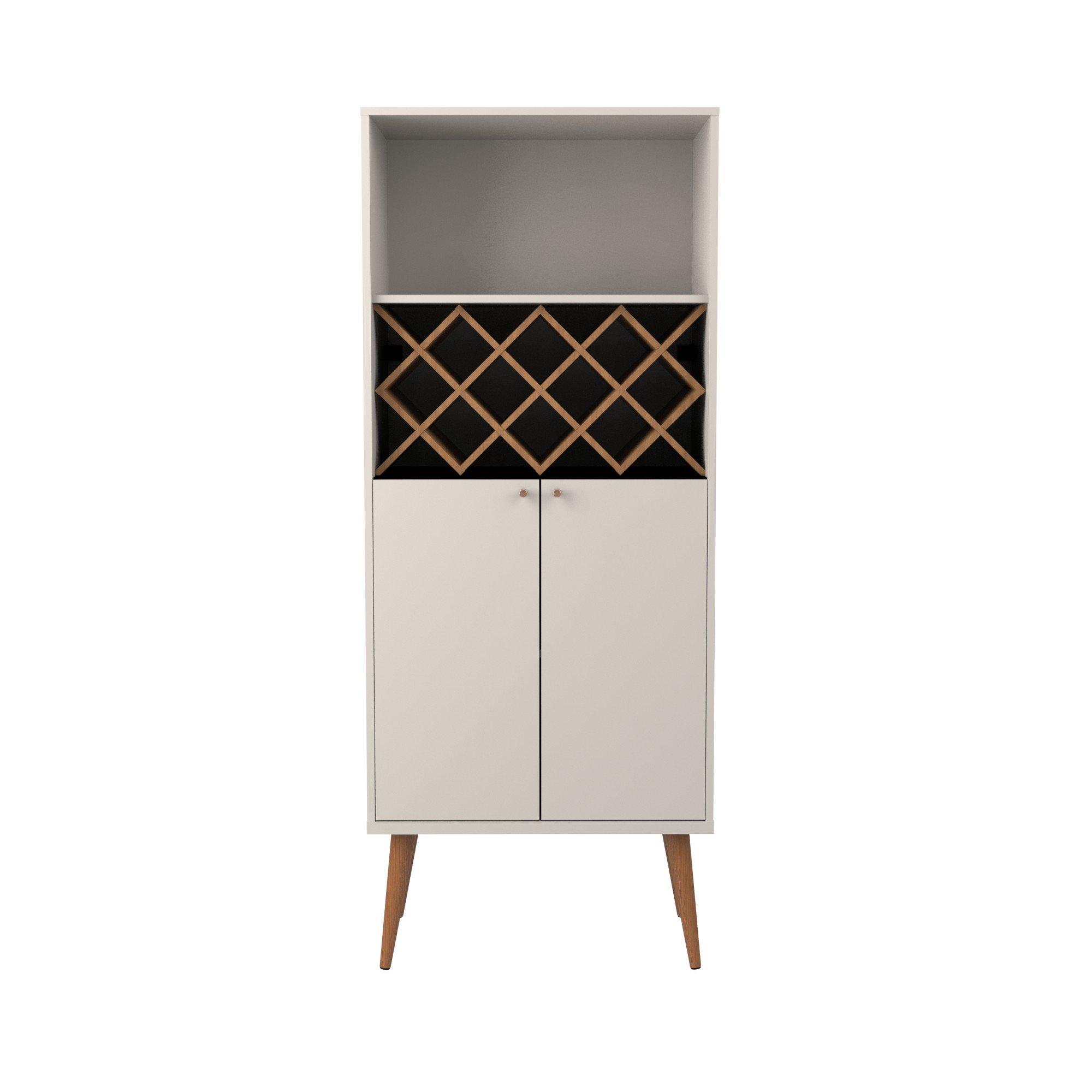Manhattan Comfort Utopia Collection Mid Century Modern Wine Holder With Storage Cabinet and Three Shelves, Splayed Legs, Off White by Manhattan Comfort