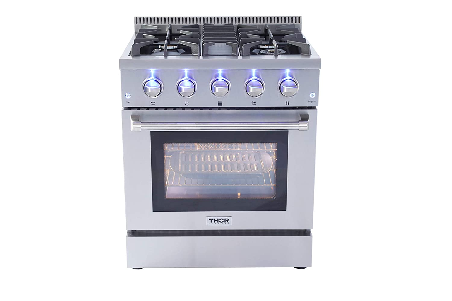 Thor Kitchen Silver 30'' Gas Range with 4.2 cu.ft Electric Convection Oven in Stainless Steel - with 4 Burners - 2-Years-Warranty