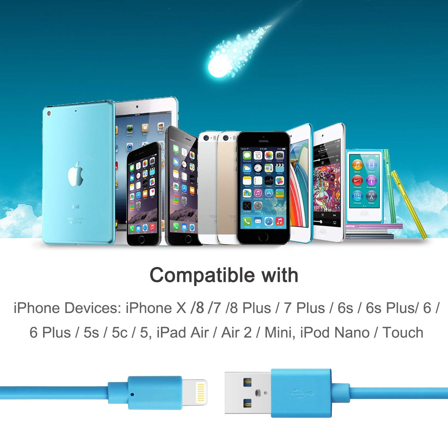Blue Quntis MFi Certified Apple iPhone Charger Cable 3 Pack 3ft Lightning Cable Compatible with iPhone Xs Max XR X 8 Plus 7 Plus 6 Plus 5s SE iPad Pro iPod Airpods and More