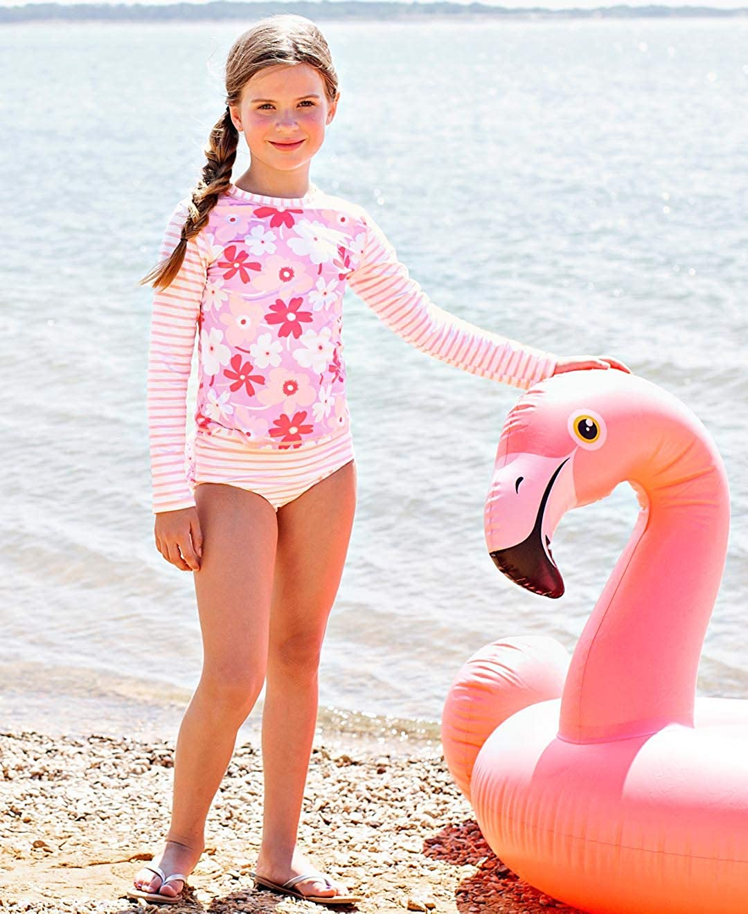 RuffleButts Little Girls Rash Guard 2-Piece Swimsuit Set Long Sleeve Bikini with UPF 50 Sun Protection RGSYYXX-PRLS-SC-TDLR