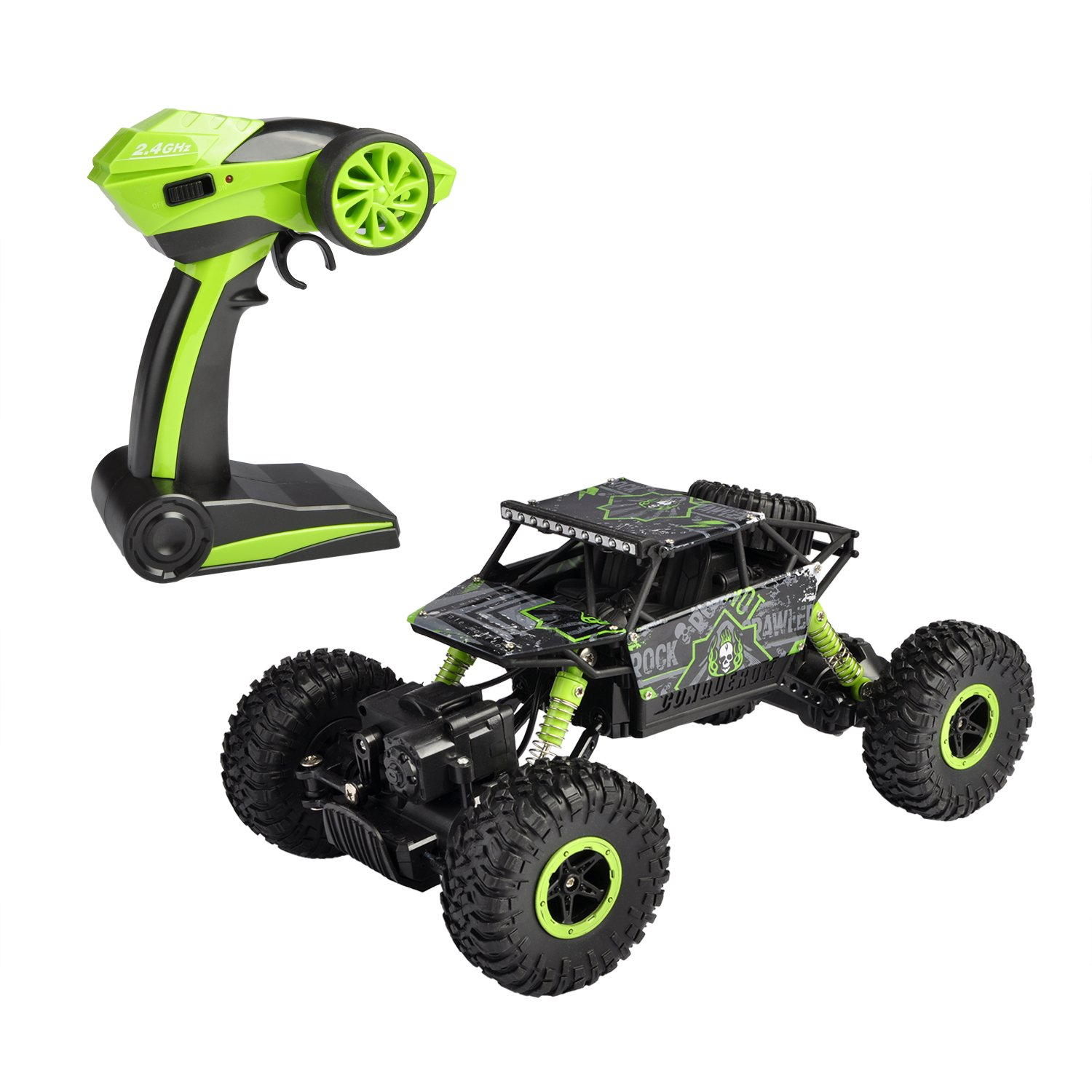 Hapinic RC Car 4WD 2.4Ghz 1/18 Crawlers Off Road Vehicle Toy Remote Control Car Green Color with Two Battery