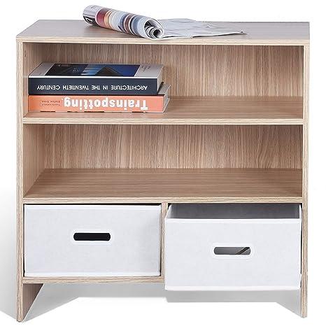 ASUUNY Libreria Piccola, libreria in Legno 3 Livelli 2 unità cubo con  cassetti per l\'esposizione per l\'home Office, in Rovere, 23.6\