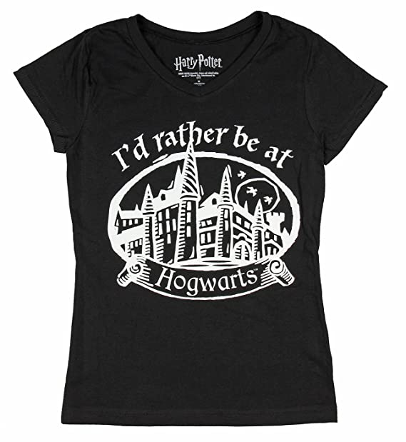 fbd7e4a82 Amazon.com: Harry Potter I'd Rather Be at Hogwarts Girls V-Neck ...