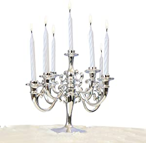 Luxury Candelabra Birthday Candles, Special Cake Candles, Party and Event Unique Candle, Cake Topper with 9 Candles, Cake Candle Holders, Cake Decorations, Romantic Propose Candles (Metallic Silver)