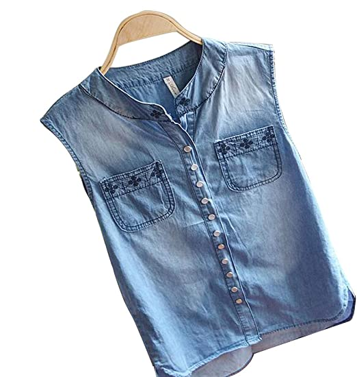 43c172e6711 Only Faith Women Embroidered Loose Jean Shirt Denim Sleeveless Shirt Tops  (S)