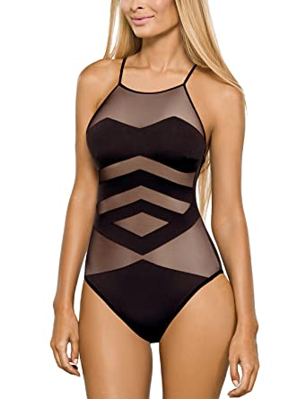 custom elegant in style customers first Lorin not Wired Sheer one Piece Swimsuit L4121/8, Black, 14 ...