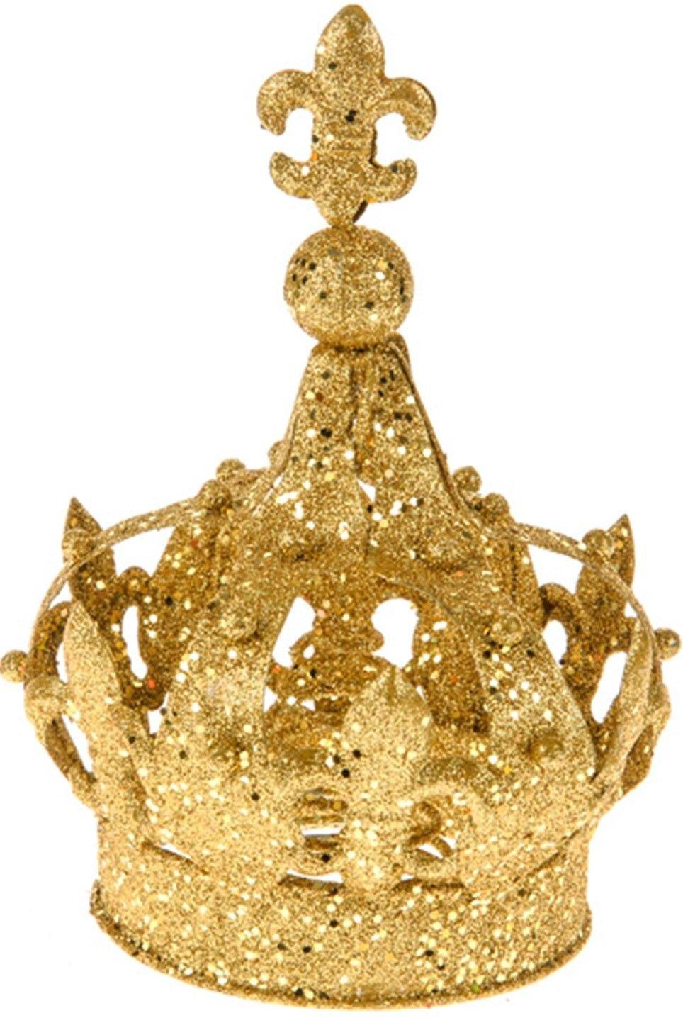 Puntale per albero di Natale, grande e sfarzoso, decorazione a forma di corona, colore: oro o argento Gold CB