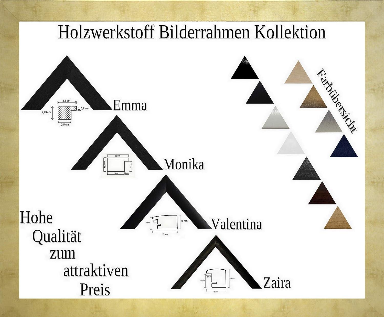 Monika Holzwerkstoff Bilderrahmen schlicht elegant 70 x 100 cm Farbe und Verglasung wählbar 100x70 cm, Hier Gold antik mit Acrylglas Antireflex 1 mm