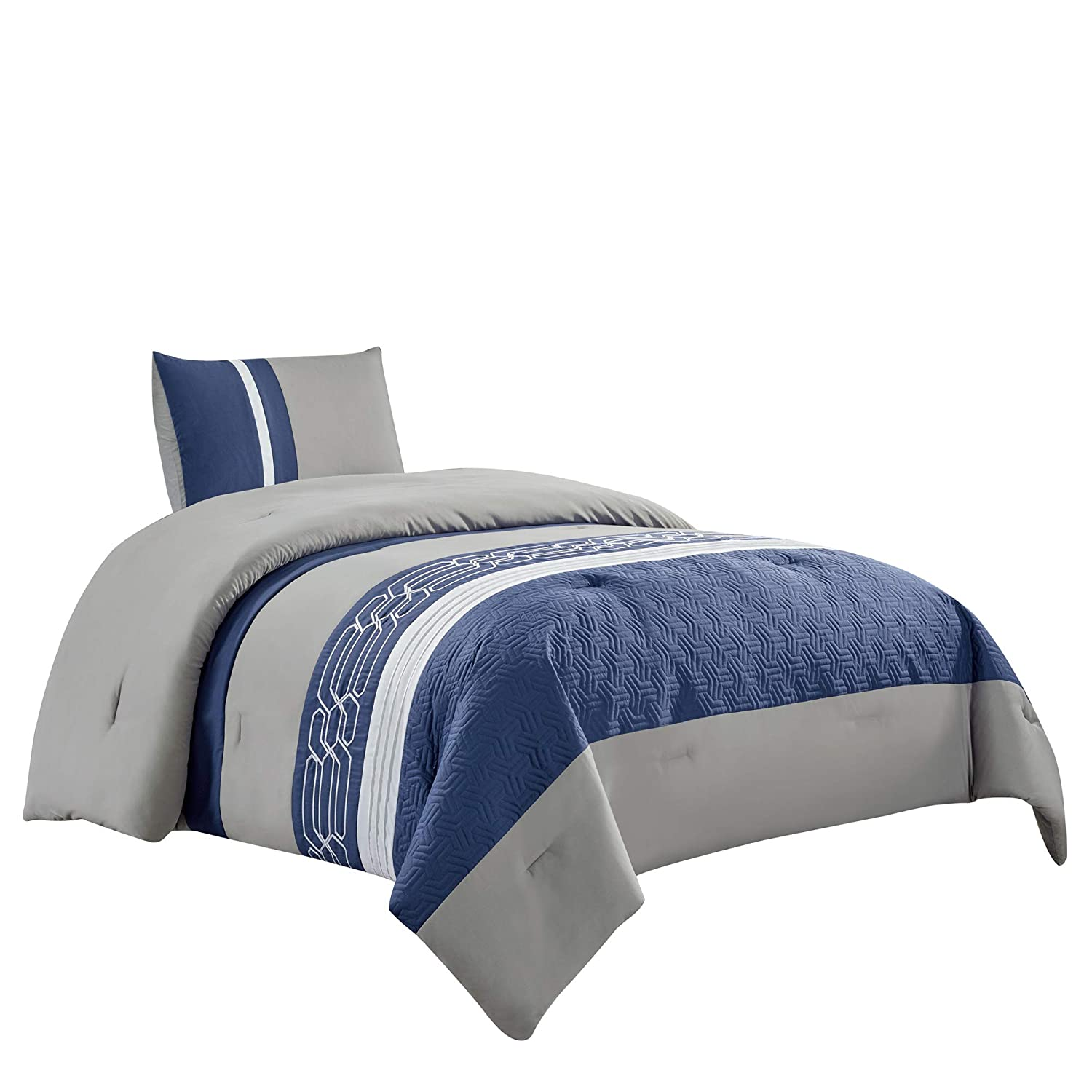 WPM WORLD PRODUCTS MART Embroidered Quilted Goose Down Alternative Comforter Set Twin or Queen Size Bedding Includes Blue/Grey/White Comforter and Pillow Shams- LOLA (Twin)