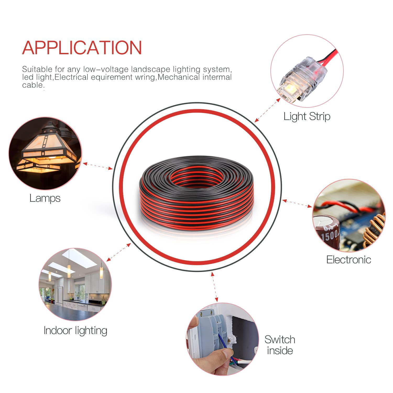 Wellite 50ft 18 2 Awg Gauge Electrical Wire Low Voltage Led Landscape Lighting Wiring Diagram For System Redblack Parallel Home Kitchen
