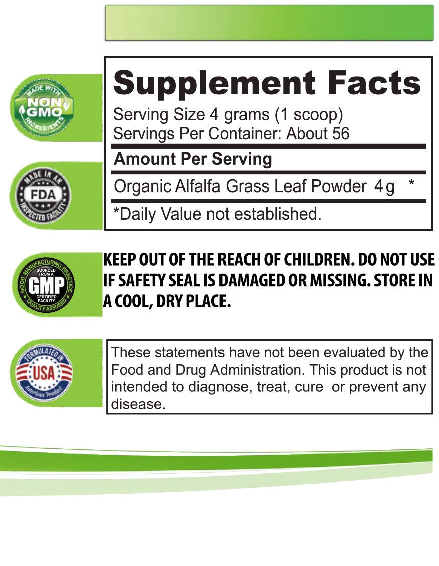 Blood Sugar Health Supplement - Organic Alfalfa Grass Powder - Organic Digestive Supplement - 3 Cans 24 OZ (168 Servings) by Health Solution Prime (Image #2)